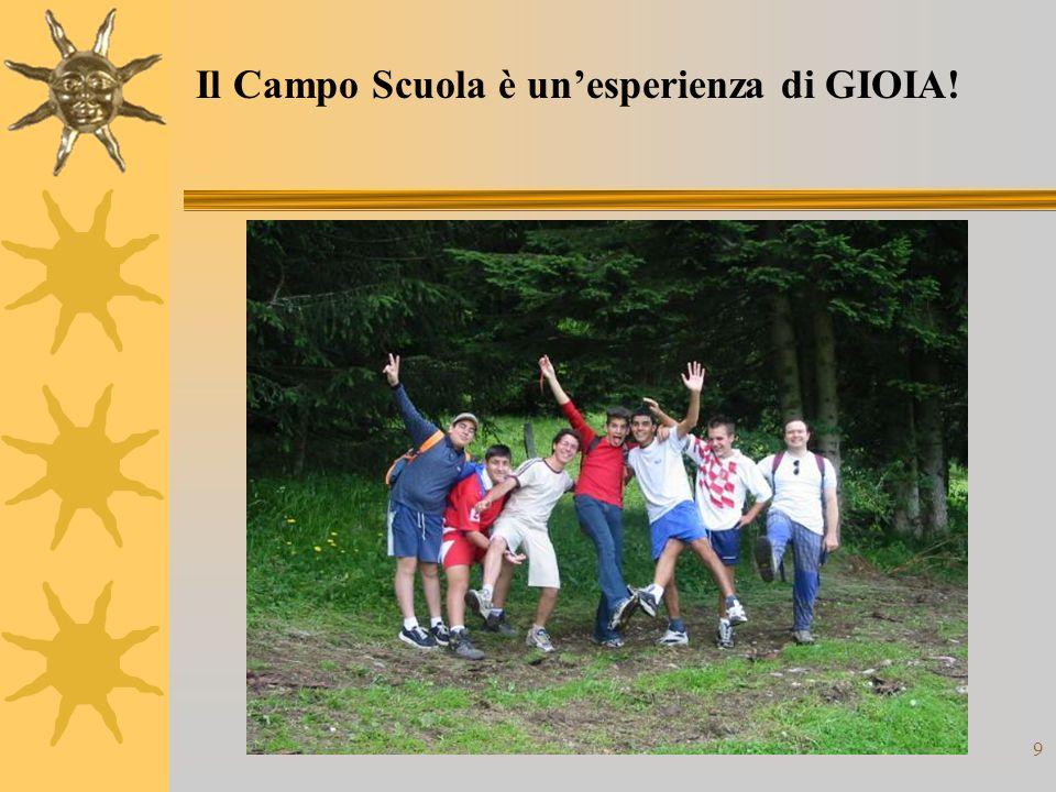 9 Il Campo Scuola è unesperienza di GIOIA!