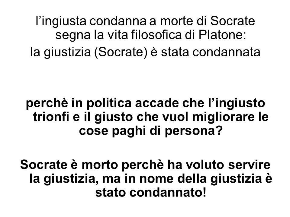 lingiusta condanna a morte di Socrate segna la vita filosofica di Platone: la giustizia (Socrate) è stata condannata perchè in politica accade che lin