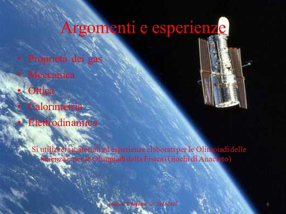 Argomenti e esperienze Proprietà dei gas Meccanica Ottica Calorimetria Elettrodinamica Si utilizzerà materiali ed esperienze elaborati per le Olimpiad