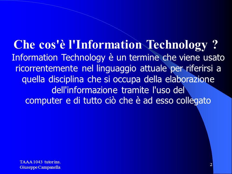 TAAA 1043 tutor ins.Giuseppe Campanella 2 Che cos è l Information Technology .