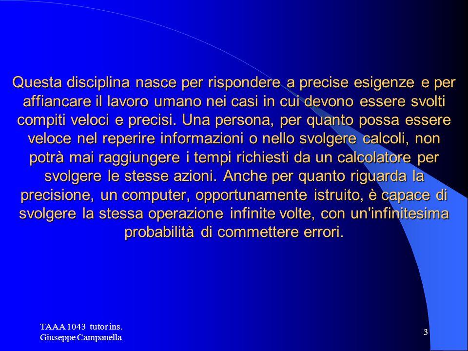 TAAA 1043 tutor ins. Giuseppe Campanella 2 Che cos è l Information Technology .