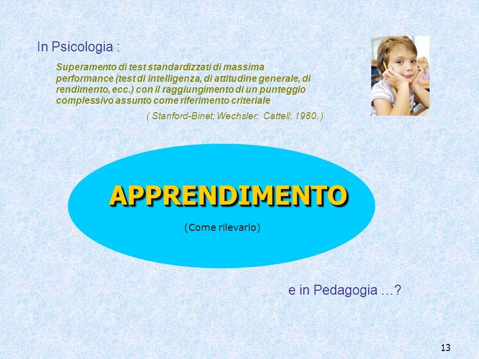 13 (Come rilevarlo) Superamento di test standardizzati di massima performance (test di intelligenza, di attitudine generale, di rendimento, ecc.) con