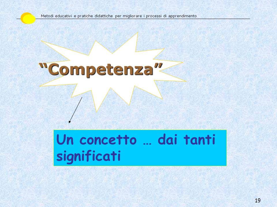 19 Un concetto … dai tanti significati Competenza Metodi educativi e pratiche didattiche per migliorare i processi di apprendimento