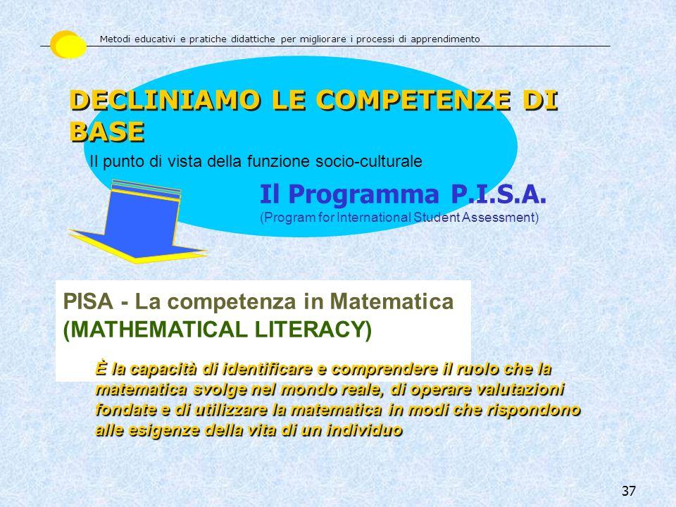 37 PISA - La competenza in Matematica (MATHEMATICAL LITERACY) È la capacità di identificare e comprendere il ruolo che la matematica svolge nel mondo