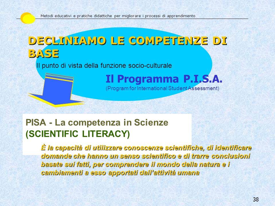38 PISA - La competenza in Scienze (SCIENTIFIC LITERACY) È la capacità di utilizzare conoscenze scientifiche, di identificare domande che hanno un sen
