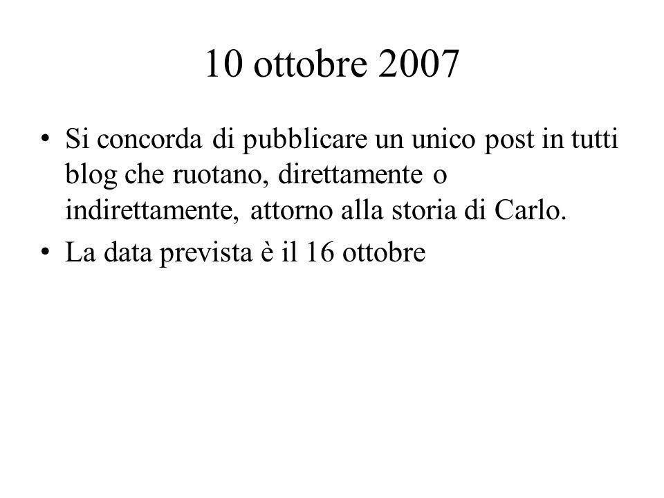 10 ottobre 2007 Si concorda di pubblicare un unico post in tutti blog che ruotano, direttamente o indirettamente, attorno alla storia di Carlo.