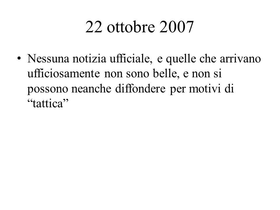 22 ottobre 2007 Nessuna notizia ufficiale, e quelle che arrivano ufficiosamente non sono belle, e non si possono neanche diffondere per motivi di tattica
