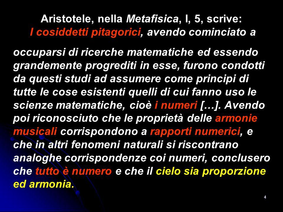 4 Aristotele, nella Metafisica, I, 5, scrive: I cosiddetti pitagorici, avendo cominciato a occuparsi di ricerche matematiche ed essendo grandemente pr