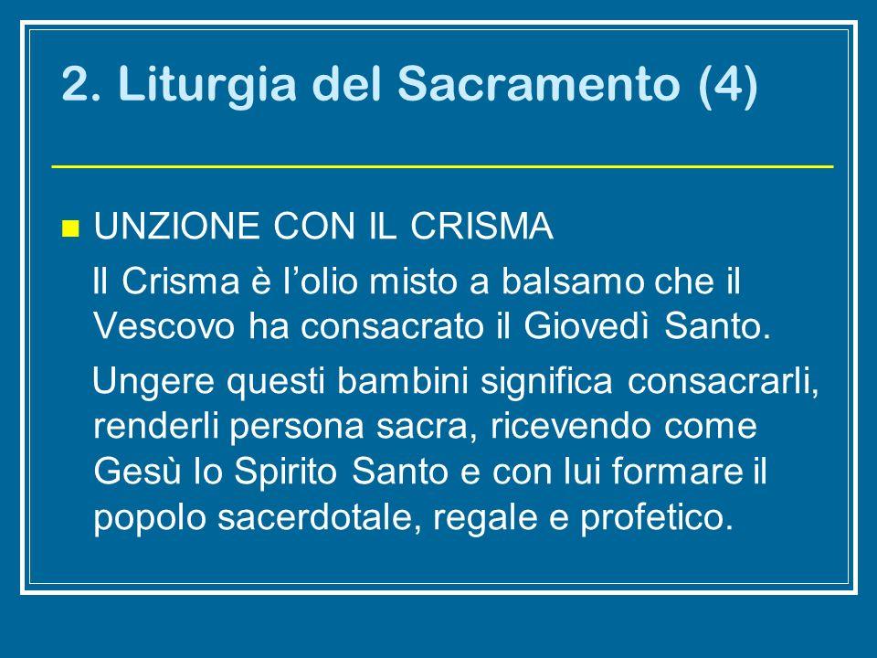 2. Liturgia del Sacramento (4) UNZIONE CON IL CRISMA Il Crisma è lolio misto a balsamo che il Vescovo ha consacrato il Giovedì Santo. Ungere questi ba