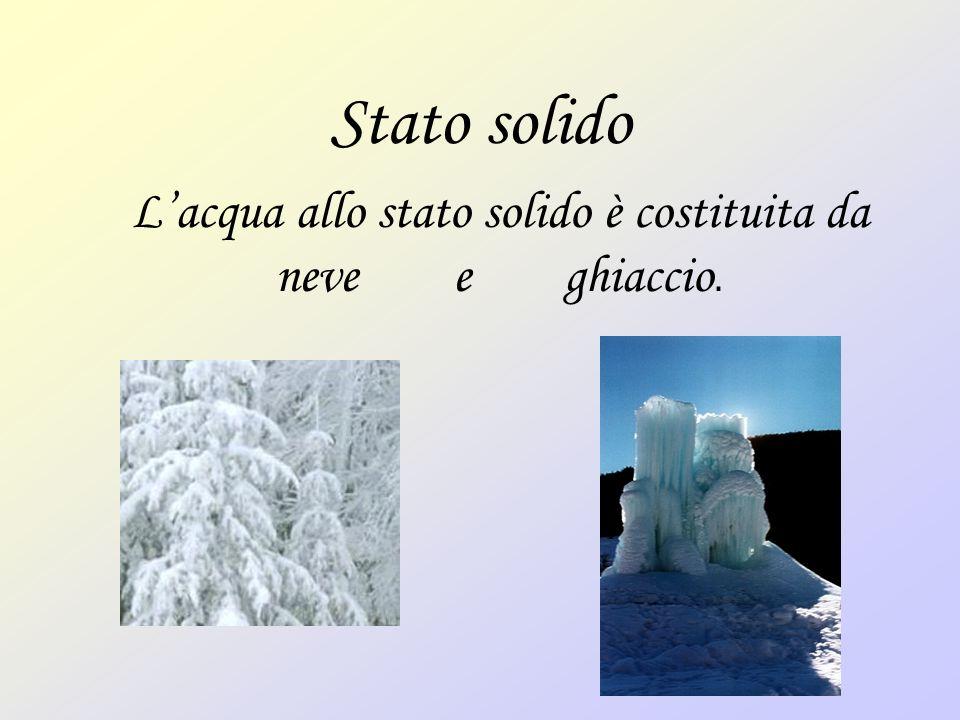 Stato solido Lacqua allo stato solido è costituita da neve e ghiaccio.