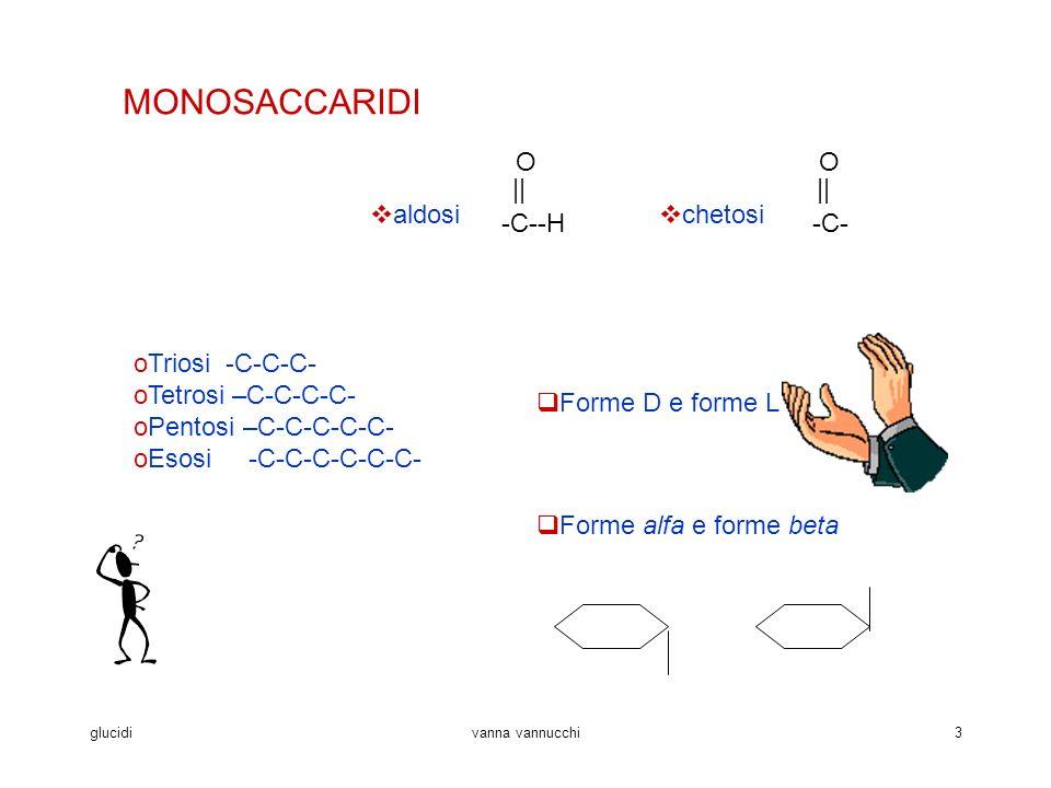 glucidivanna vannucchi3 MONOSACCARIDI aldosi -C--H O    chetosi -C- O    oTriosi -C-C-C- oTetrosi –C-C-C-C- oPentosi –C-C-C-C-C- oEsosi -C-C-C-C-C-C- Forme D e forme L Forme alfa e forme beta