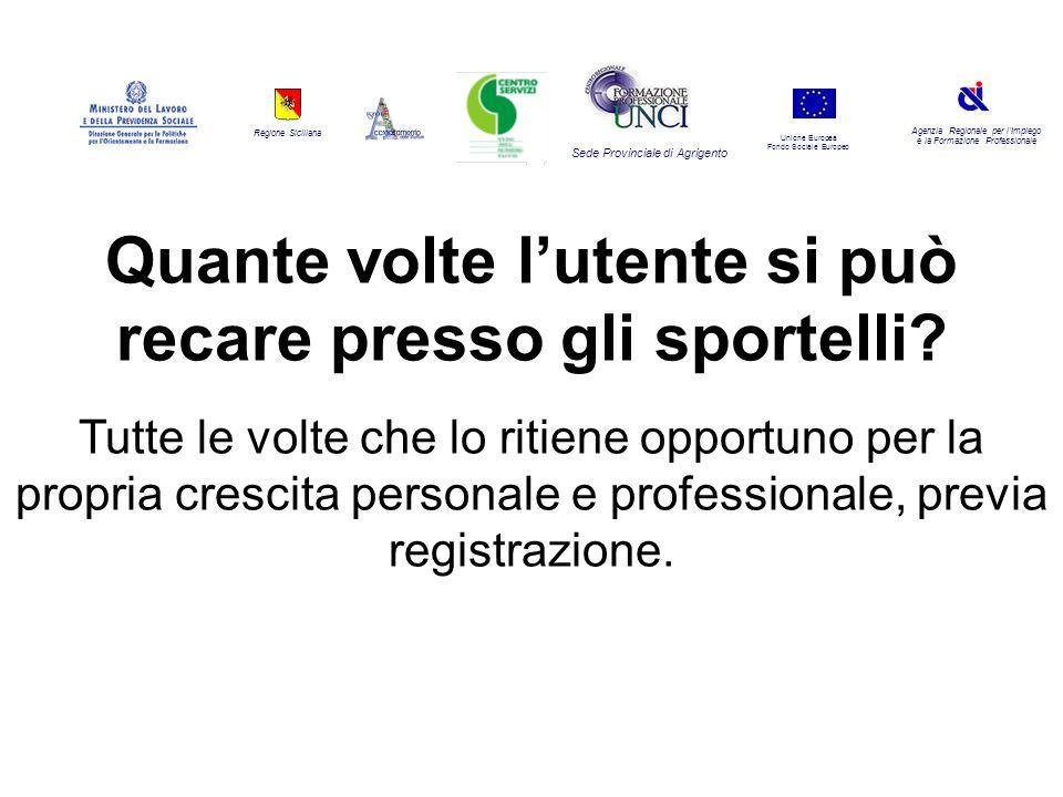Regione Siciliana Agenzia Regionale per lImpiego e la Formazione Professionale Sede Provinciale di Agrigento Unione Europea Fondo Sociale Europeo Quante volte lutente si può recare presso gli sportelli.