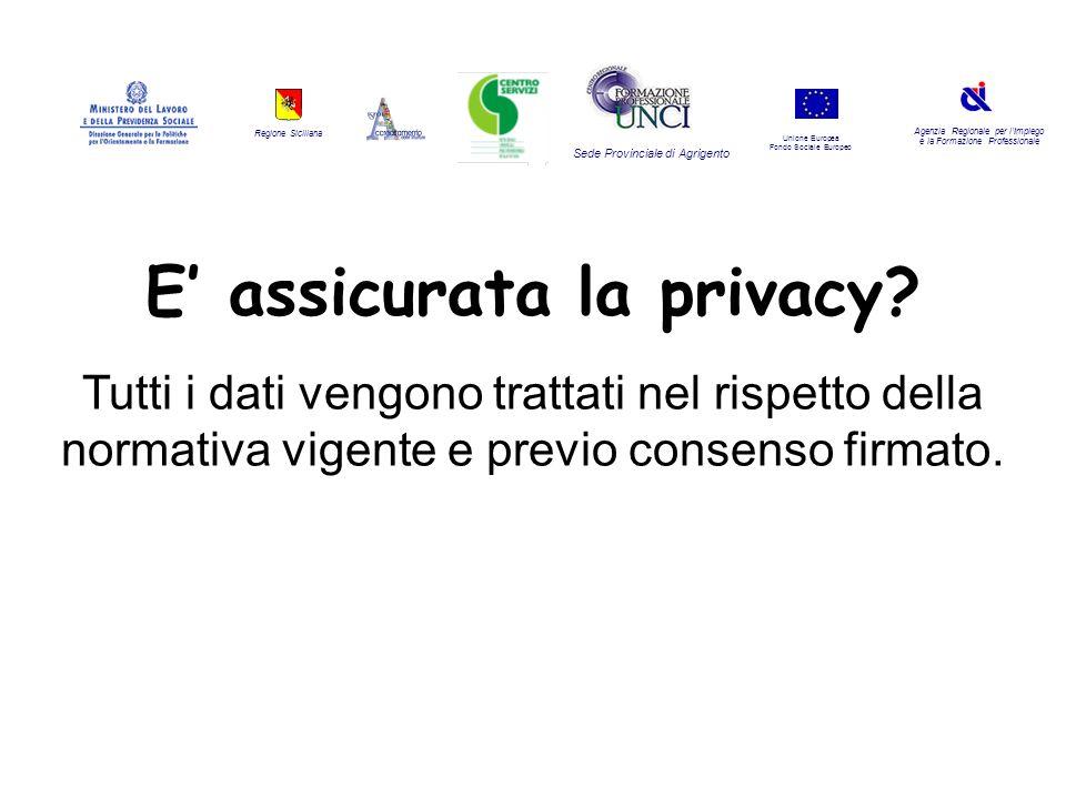 Regione Siciliana Agenzia Regionale per lImpiego e la Formazione Professionale Sede Provinciale di Agrigento Unione Europea Fondo Sociale Europeo E assicurata la privacy.