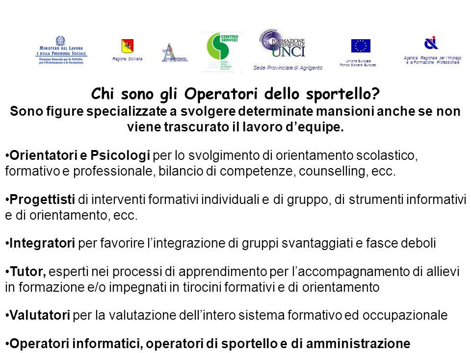 Regione Siciliana Agenzia Regionale per lImpiego e la Formazione Professionale Sede Provinciale di Agrigento Unione Europea Fondo Sociale Europeo Chi sono gli Operatori dello sportello.