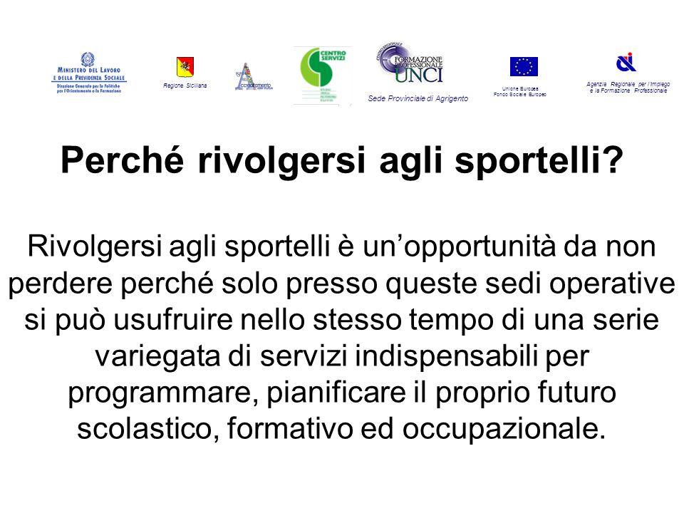 Regione Siciliana Agenzia Regionale per lImpiego e la Formazione Professionale Sede Provinciale di Agrigento Unione Europea Fondo Sociale Europeo Perché rivolgersi agli sportelli.