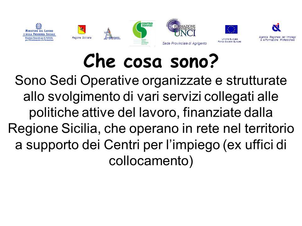 Regione Siciliana Agenzia Regionale per lImpiego e la Formazione Professionale Sede Provinciale di Agrigento Unione Europea Fondo Sociale Europeo Quali e quanti sono le tipologie di servizi.