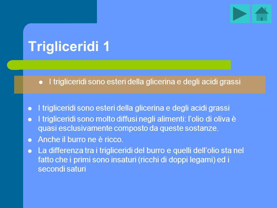 Trigliceridi 1 I trigliceridi sono esteri della glicerina e degli acidi grassi I trigliceridi sono molto diffusi negli alimenti: lolio di oliva è quas