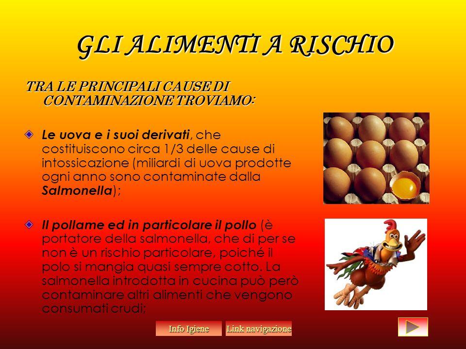 GLI ALIMENTI A RISCHIO TRA LE PRINCIPALI CAUSE DI CONTAMINAZIONE TROVIAMO: Le uova e i suoi derivati, che costituiscono circa 1/3 delle cause di intossicazione (miliardi di uova prodotte ogni anno sono contaminate dalla Salmonella ); Il pollame ed in particolare il pollo (è portatore della salmonella, che di per se non è un rischio particolare, poiché il polo si mangia quasi sempre cotto.