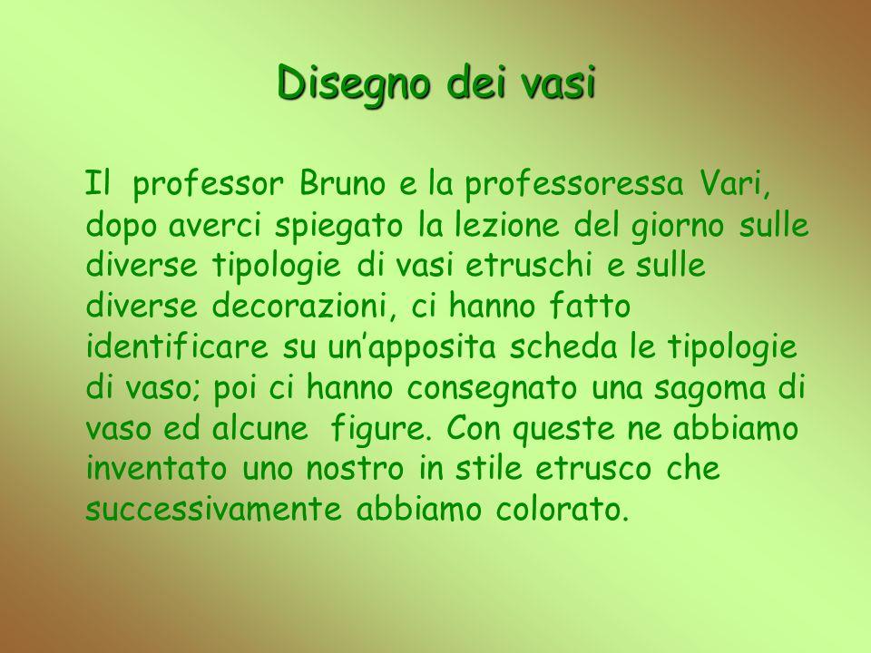 Disegno dei vasi Il professor Bruno e la professoressa Vari, dopo averci spiegato la lezione del giorno sulle diverse tipologie di vasi etruschi e sul