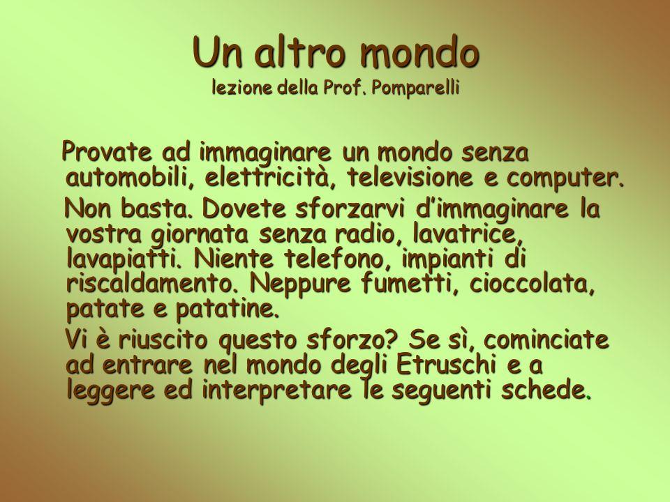 Un altro mondo lezione della Prof. Pomparelli Provate ad immaginare un mondo senza automobili, elettricità, televisione e computer. Non basta. Dovete