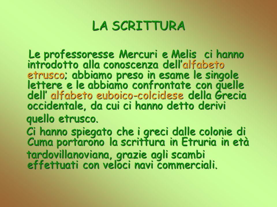 LA SCRITTURA Le professoresse Mercuri e Melis ci hanno introdotto alla conoscenza dellalfabeto etrusco; abbiamo preso in esame le singole lettere e le