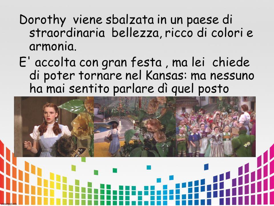 Dorothy viene sbalzata in un paese di straordinaria bellezza, ricco di colori e armonia.