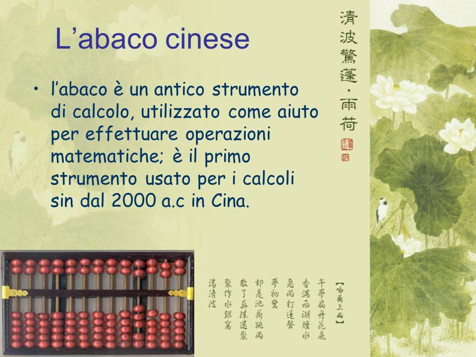 Labaco cinese labaco è un antico strumento di calcolo, utilizzato come aiuto per effettuare operazioni matematiche; è il primo strumento usato per i calcoli sin dal 2000 a.c in Cina.