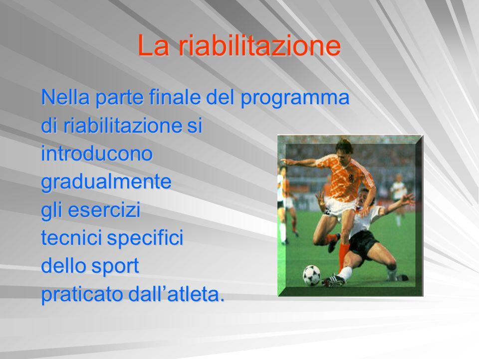 La riabilitazione Nella parte finale del programma Nella parte finale del programma di riabilitazione si di riabilitazione si introducono introducono