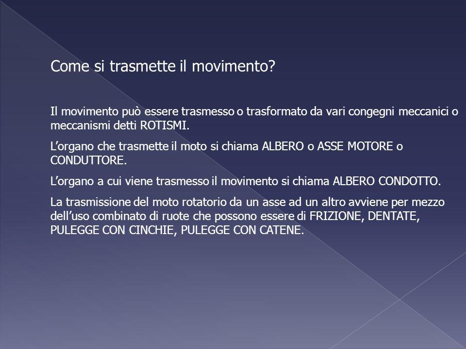 Come si trasmette il movimento? Il movimento può essere trasmesso o trasformato da vari congegni meccanici o meccanismi detti ROTISMI. Lorgano che tra
