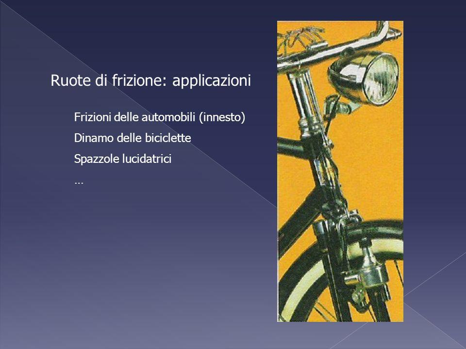 Ruote di frizione: applicazioni Frizioni delle automobili (innesto) Dinamo delle biciclette Spazzole lucidatrici …