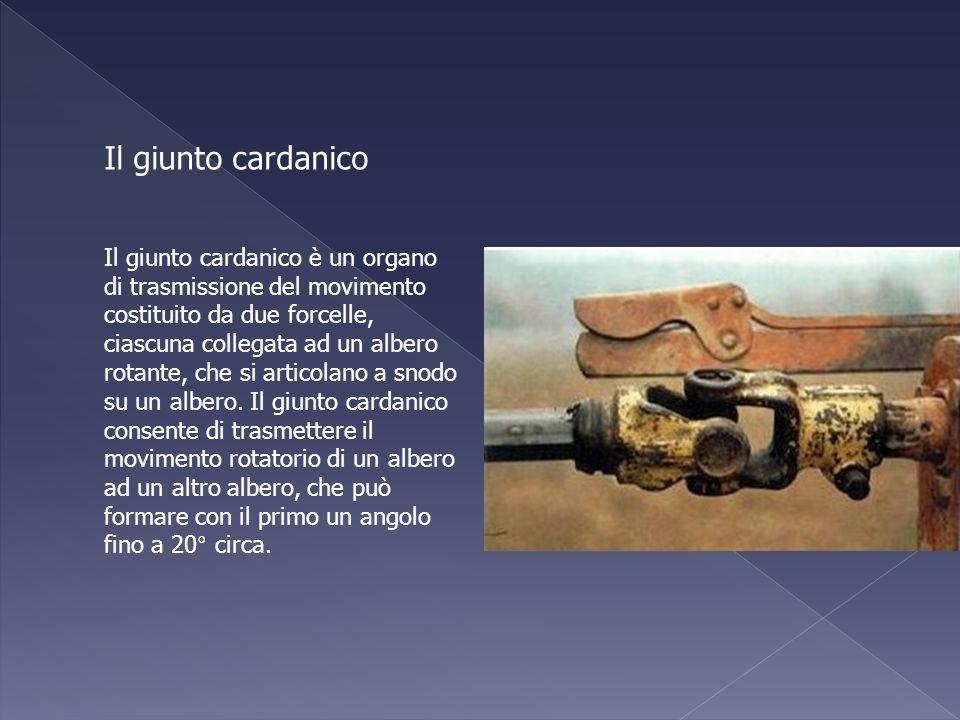 Il giunto cardanico è un organo di trasmissione del movimento costituito da due forcelle, ciascuna collegata ad un albero rotante, che si articolano a