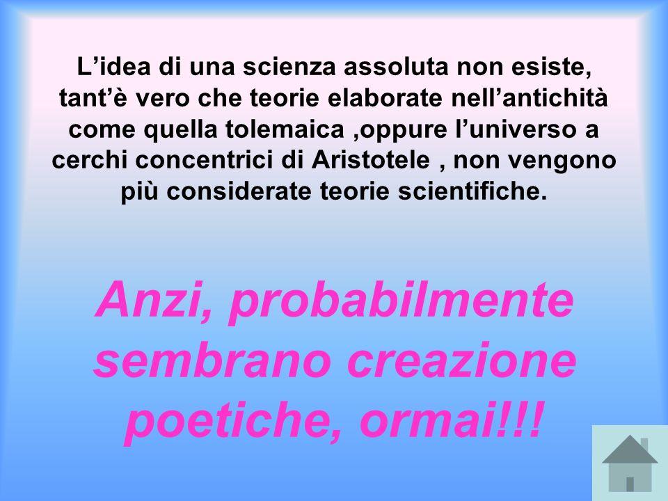 Lidea di una scienza assoluta non esiste, tantè vero che teorie elaborate nellantichità come quella tolemaica,oppure luniverso a cerchi concentrici di