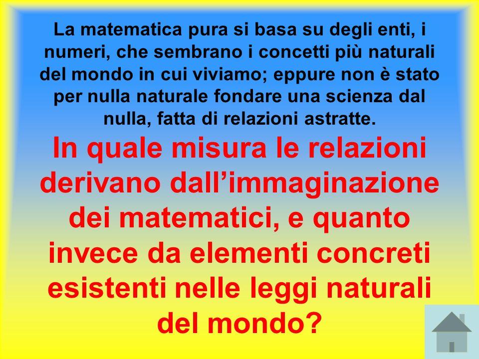 La matematica pura si basa su degli enti, i numeri, che sembrano i concetti più naturali del mondo in cui viviamo; eppure non è stato per nulla natura