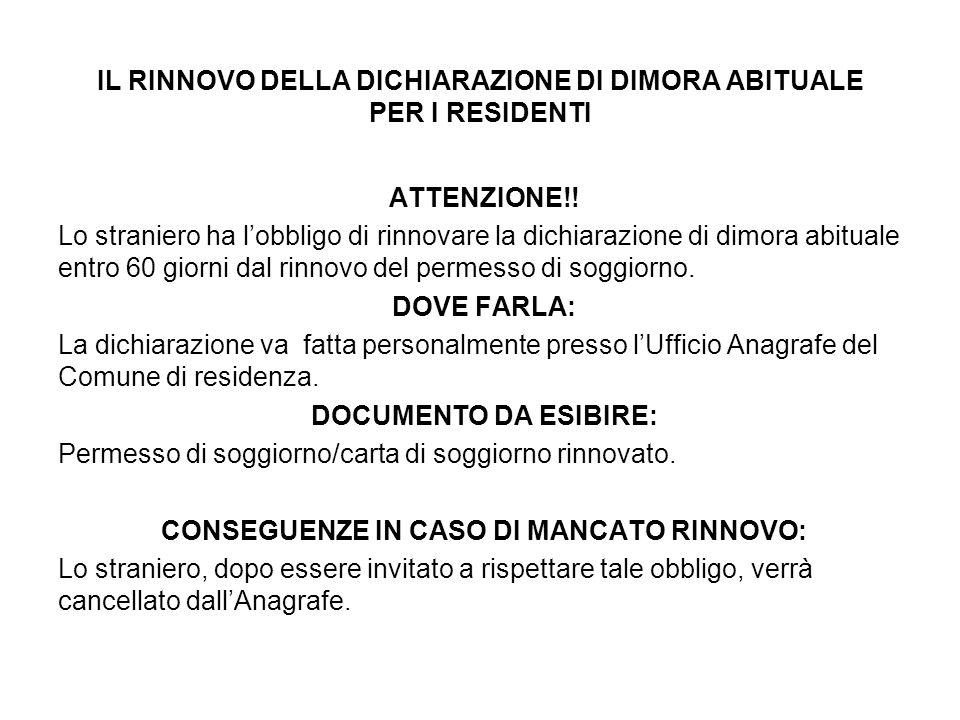 IL RINNOVO DELLA DICHIARAZIONE DI DIMORA ABITUALE PER I RESIDENTI ATTENZIONE!.