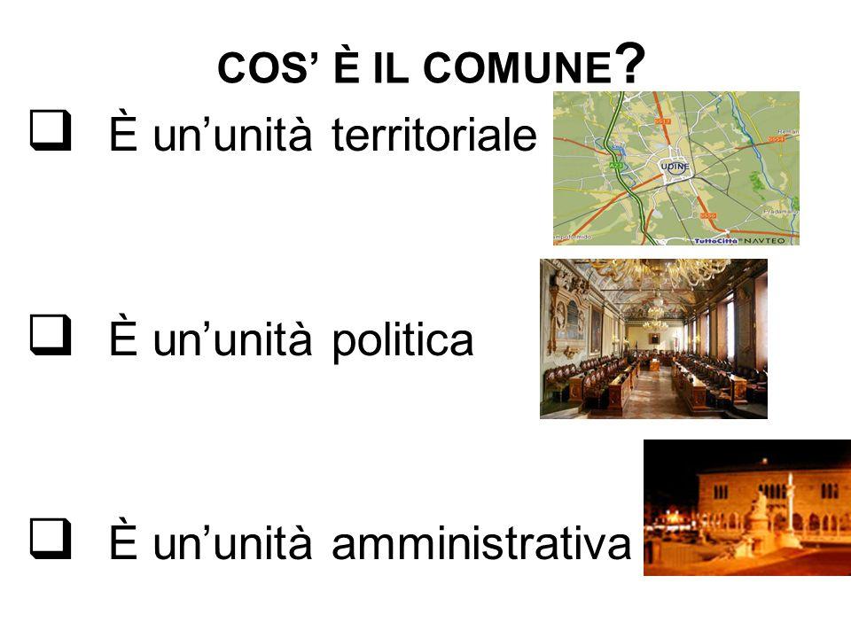 COS È IL COMUNE ? È ununità territoriale È ununità politica È ununità amministrativa