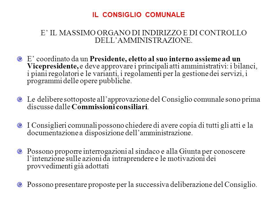 IL CONSIGLIO COMUNALE E IL MASSIMO ORGANO DI INDIRIZZO E DI CONTROLLO DELLAMMINISTRAZIONE.
