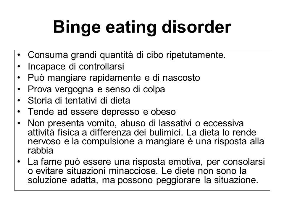 Binge eating disorder Consuma grandi quantità di cibo ripetutamente.