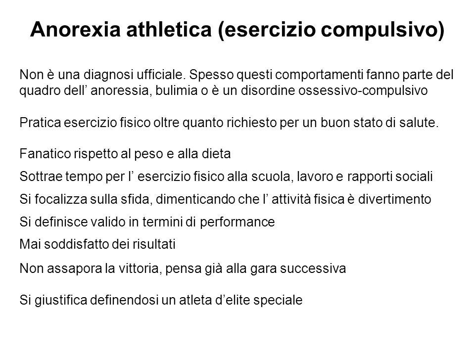 Anorexia athletica (esercizio compulsivo) Non è una diagnosi ufficiale.