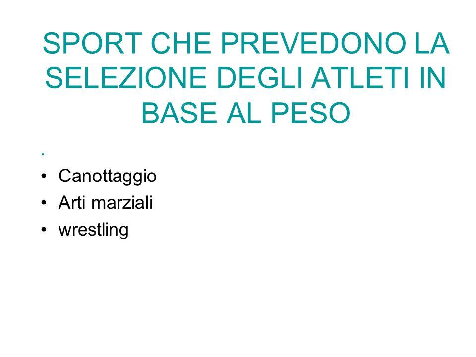 . Canottaggio Arti marziali wrestling SPORT CHE PREVEDONO LA SELEZIONE DEGLI ATLETI IN BASE AL PESO