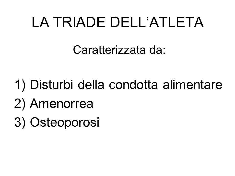 LA TRIADE DELLATLETA Caratterizzata da: 1)Disturbi della condotta alimentare 2)Amenorrea 3)Osteoporosi