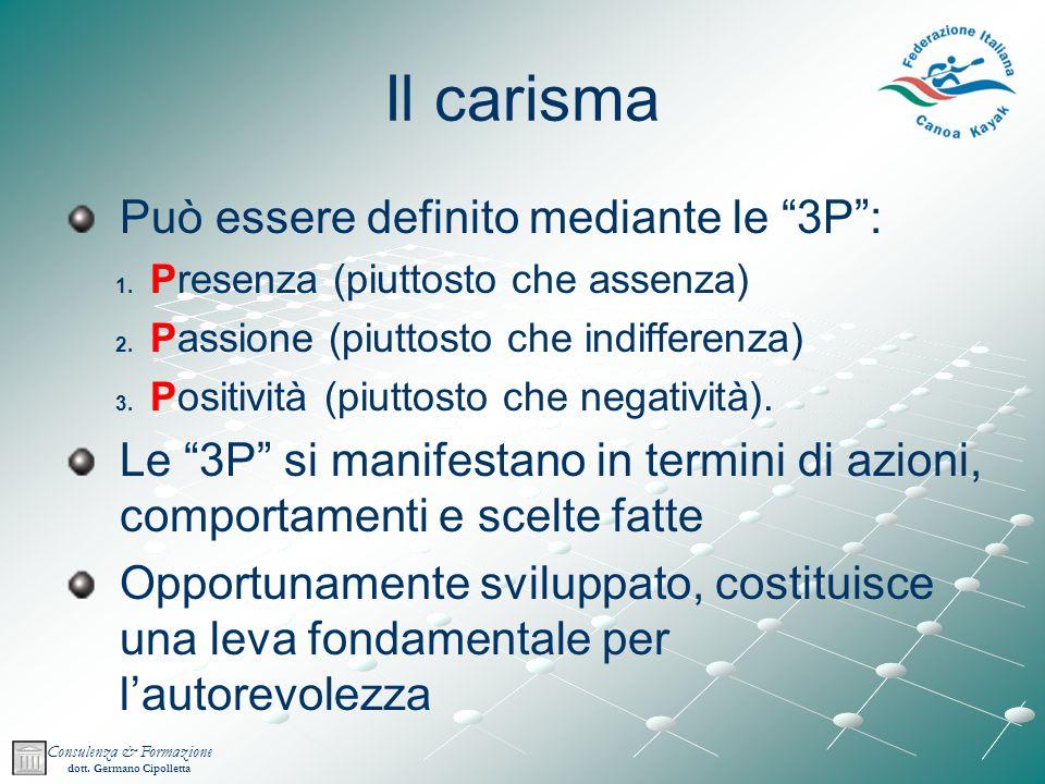 Consulenza & Formazione dott.Germano Cipolletta Il carisma Può essere definito mediante le 3P: 1.