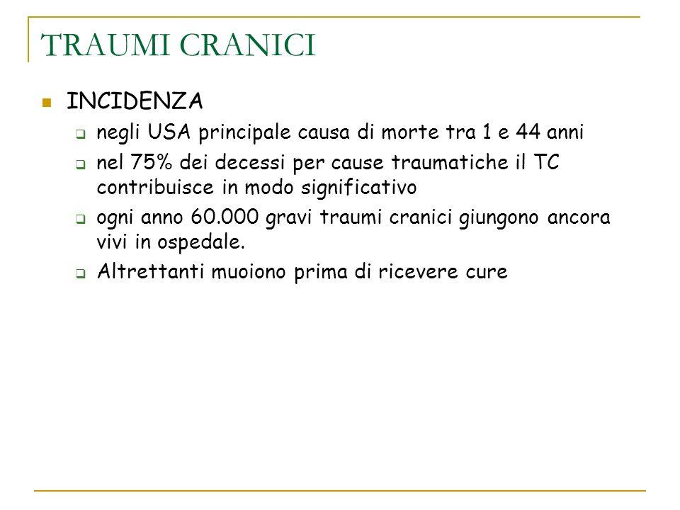 I traumi cranici In Italia si calcolano circa 250 traumi cranici/per 100.000 abitanti/anno, escludendo quelli lievi, che cioè non si accompagnano a perdita della coscienza, sia pure per pochi attimi.