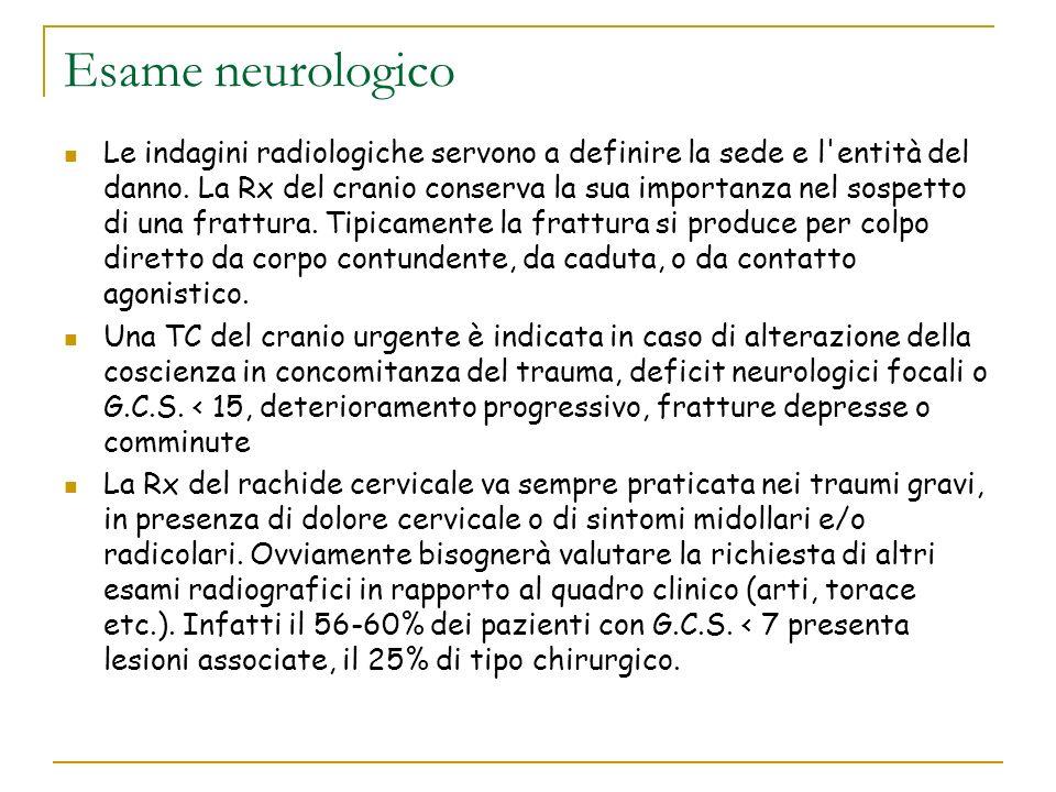 Esame neurologico Le indagini radiologiche servono a definire la sede e l'entità del danno. La Rx del cranio conserva la sua importanza nel sospetto d
