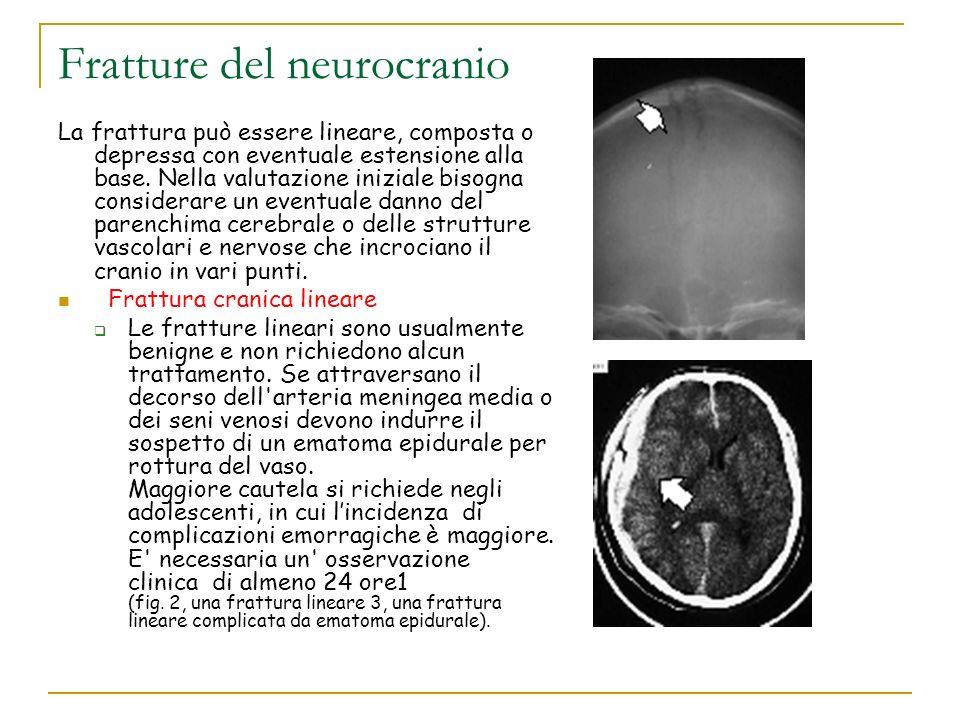 Fratture del neurocranio La frattura può essere lineare, composta o depressa con eventuale estensione alla base. Nella valutazione iniziale bisogna co