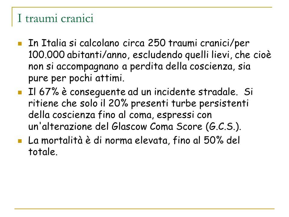 I traumi cranici In Italia si calcolano circa 250 traumi cranici/per 100.000 abitanti/anno, escludendo quelli lievi, che cioè non si accompagnano a pe