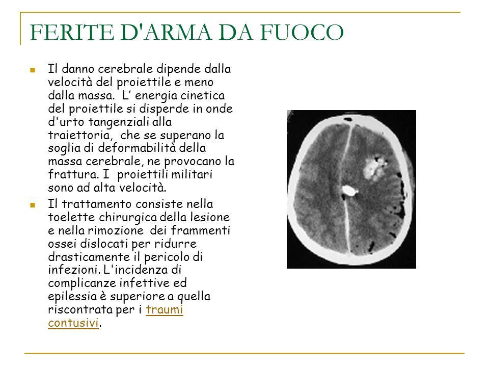 FERITE D'ARMA DA FUOCO Il danno cerebrale dipende dalla velocità del proiettile e meno dalla massa. L energia cinetica del proiettile si disperde in o