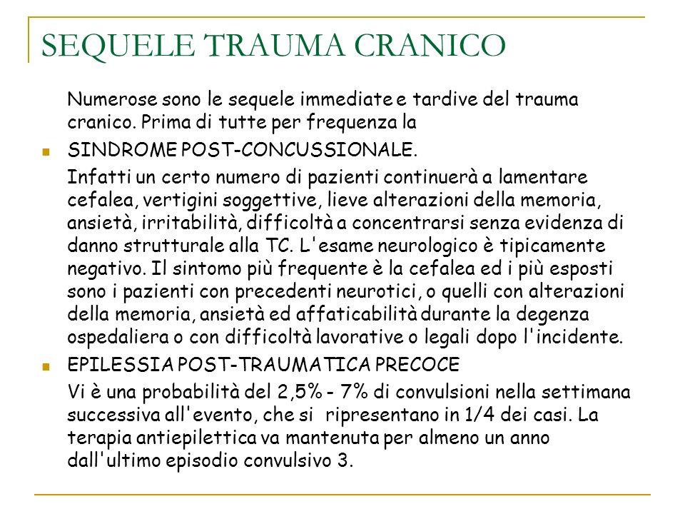 SEQUELE TRAUMA CRANICO Numerose sono le sequele immediate e tardive del trauma cranico. Prima di tutte per frequenza la SINDROME POST-CONCUSSIONALE. I
