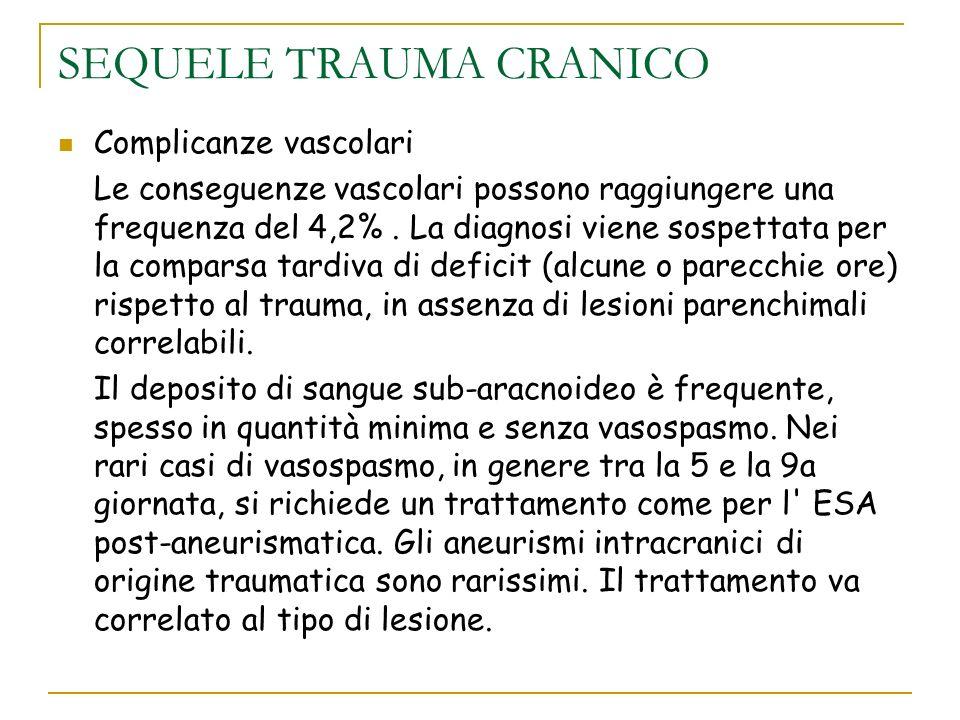 SEQUELE TRAUMA CRANICO Complicanze vascolari Le conseguenze vascolari possono raggiungere una frequenza del 4,2%. La diagnosi viene sospettata per la