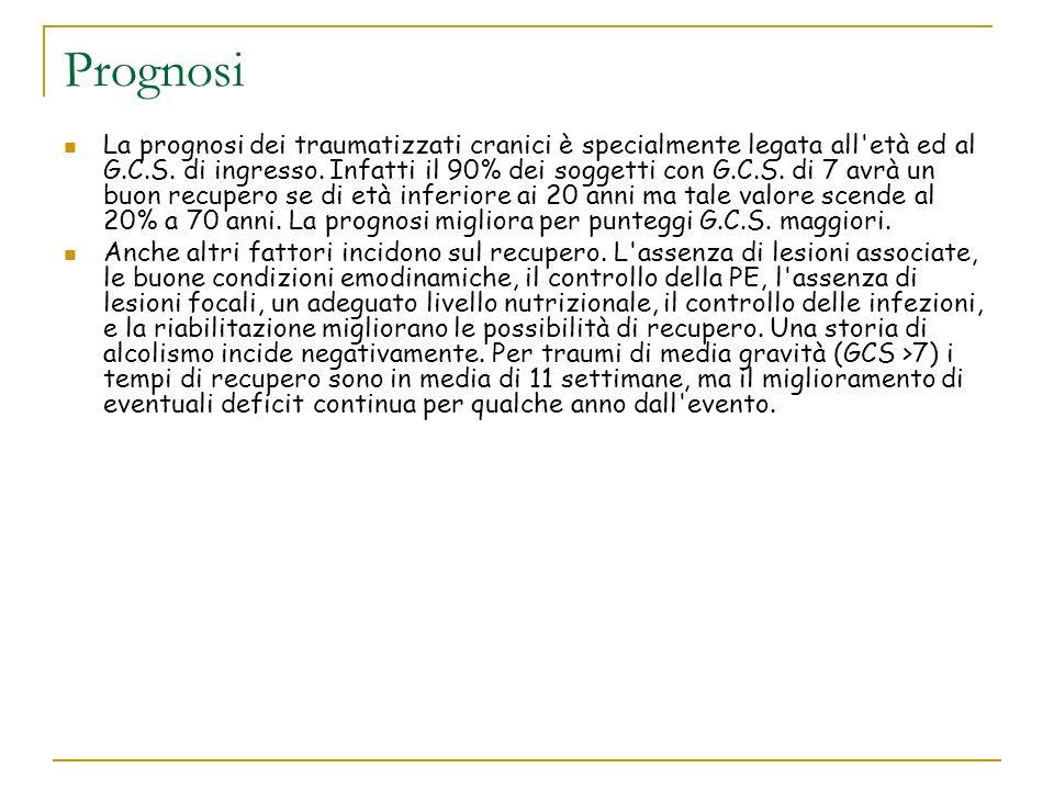 Prognosi La prognosi dei traumatizzati cranici è specialmente legata all'età ed al G.C.S. di ingresso. Infatti il 90% dei soggetti con G.C.S. di 7 avr