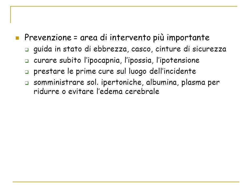 Prevenzione = area di intervento più importante guida in stato di ebbrezza, casco, cinture di sicurezza curare subito lipocapnia, lipossia, lipotensio
